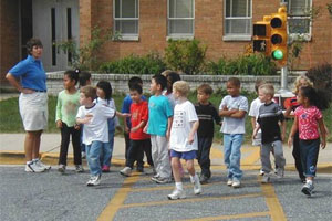 Attractive Children Practice Crossing In A Simulated Setting At College Gardens  Elementary School, Rockville, MD.