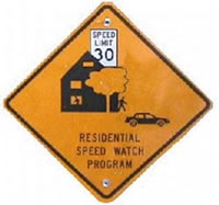 "Sign reads ""Residential Speed Watch Program"""