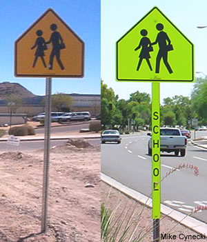 Comparison Between Standard Yellow School Warning Sign And The Retroreflective With A Post Cover